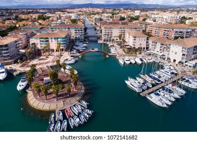 Aerial of Frejus Harbor in the South of France, Cote d'Azur, Var,