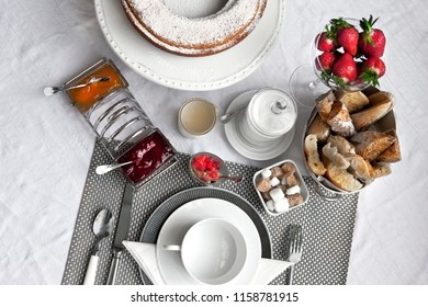 Aerial French breakfast on a table