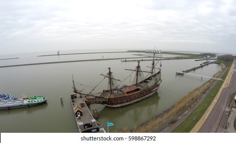 Aerial of front of ship replica of the Batavia flying near bow large ship built in Amsterdam in 1628 armed with 24 cast-iron cannons and bronze guns it was shipwrecked on maiden voyage made of wood