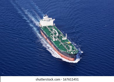 Aerial front view of oil tanker ship on open sea