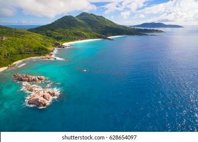 Aerial: Grand Anse at La Digue Island, Seychelles
