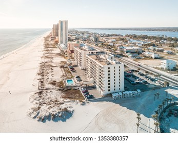 Aerial of Gulf Shores Navarre beach with Beautiful blue water