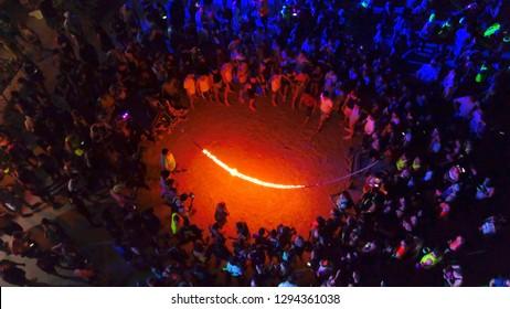AERIAL, Haad Rin Beach at night on Full Moon Party in Koh Phangan island, Thailand