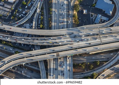 Aerial of Harbor 110 and Santa Monica 10 freeway interchange in downtown Los Angeles, California.