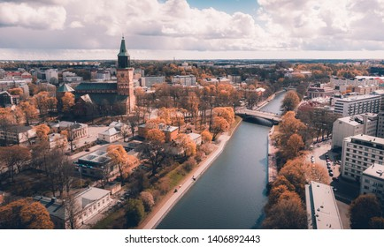 Aerial HDR-panorama of Aurajoki and Tuomiokirkko, Turku, Finland