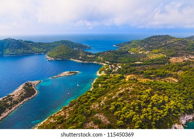 Aerial helicopter photo of island Mljet, near Dubrovnik, Croatia