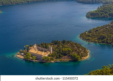 Aerial helicopter photo of Saint Mary monastery on litle island in national park Mljet, Croatia
