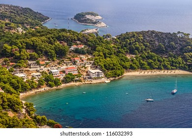 Aerial helicopter photo of sandy beach on island Mljet, near Dubrovnik, Croatia