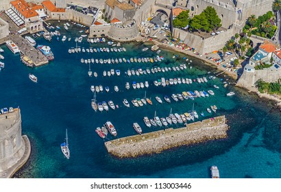 Aerial helicopter shoot of Dubrovnik old town.