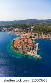 Aerial helicopter shoot of Korcula old town. Dubrovnik archipelago - Elaphites islands