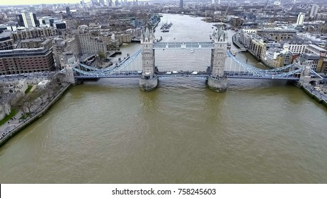 Aerial Helicopter View of Iconic Famous Landmark Tower Bridge in London England, United Kingdom