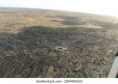 Aerial helicopter view of lava field near Kilauea volcano, Big Island, Hawaii