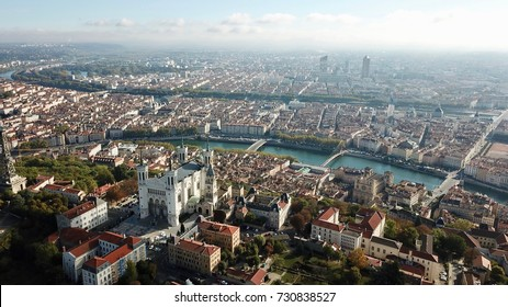 Aerial Helicopter View Lyon France including Rivers Church and Tower