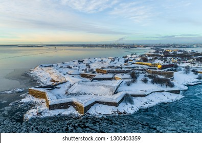 Aerial  Helsinki fortress Suomenlinna  at the coast of Baltic sea in Helsinki, Finland. Winter view.
