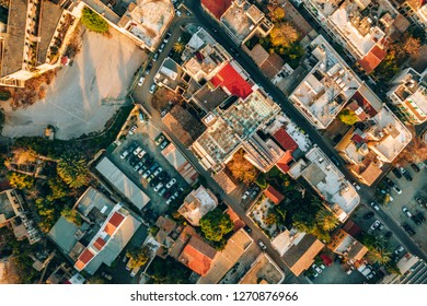 Aerial high altitude view of the iconic walled capital, Nicosia in Cyprus