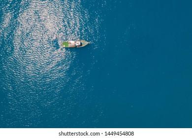Aerial High Angle View Of Boat In Deep Sea Water, Black Sea, Geledzhik, Russia