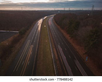 Aerial Highway Traffic Light Streaks