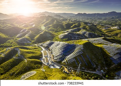 Aerial hillside solar photovoltaic power station