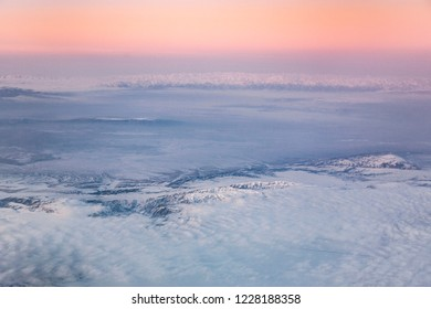 aerial of the Himalaya in soft morning light