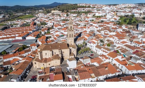 Aerial. Historic Spanish village Jerez de los Caballeros filmed from the sky.