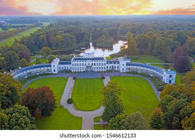 Aerial from the historical palace Soestdijk in the Netherlands at sunset