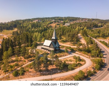 Aerial of Holmenkollen Chapel in Oslo, Norway