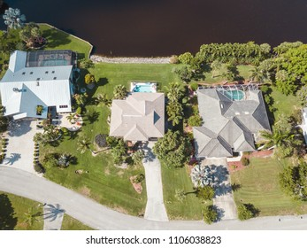 aerial houses residential florida lake