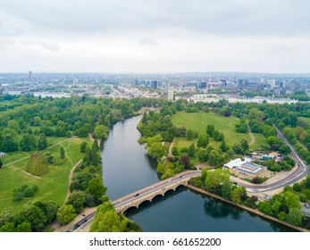 Aerial Hyde park view in London from above. Beautiful nature in the middle of the city.