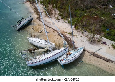 Aerial image of aftermath of Hurricane Irma in the Florida Keys