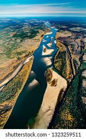 Aerial image of Athabasca River, Alberta, Canada