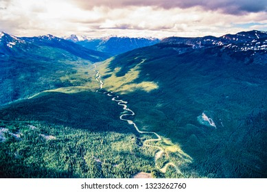 Aerial image of Athabasca River Basin headwaters, Alberta, Canada