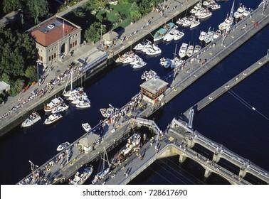 Aerial image of Ballard Locks, Seattle, Washington