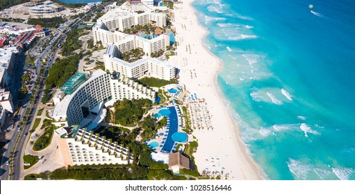 An aerial image of a beach in Cancun, Mexico.
