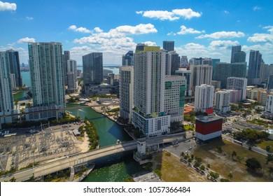 Aerial image between Miami and Brickell Miami River bridges