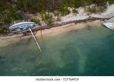 Aerial image of boats destroyed in the Florida Keys after Hurricane Irma