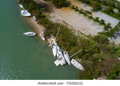 Aerial image of boats destroyed in Miami after Hurricane Irma