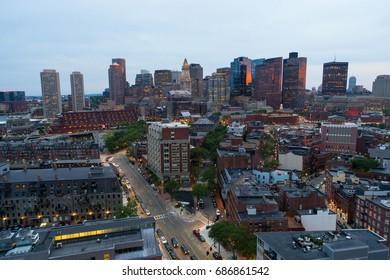 Aerial image of Boston twilight