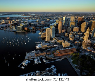 Aerial Image of the Boston Waterfront Skyline