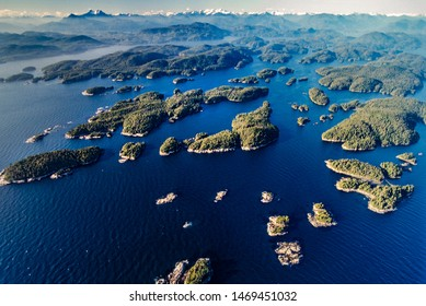 Aerial image of the Broughton Archipelago group of islands on the coast of British Columbia Canada