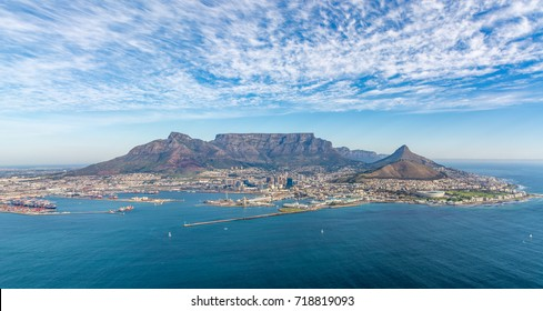 Aerial Image of Cape Town South Africa looking towards Table Mountain