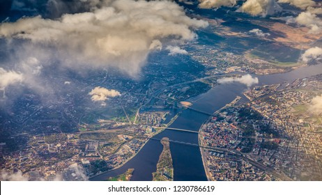 Aerial image of the city of Riga, Latvia where you can see the river Daugava