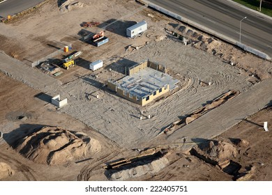 An aerial image of a commercial real estate development under construction