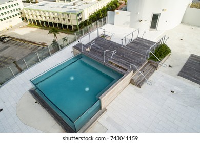 Aerial image of a contemporary rooftop swimming pool made from glass walls