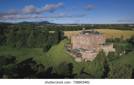 Aerial image of Dalhousie Caslte -Scotland's oldest inhabited castle. It is opened to public.
