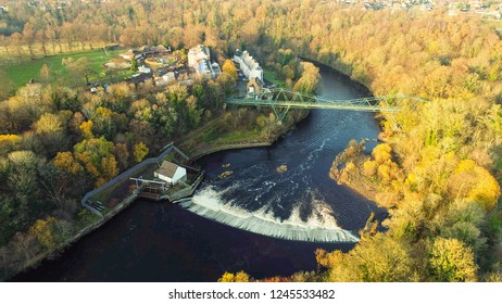 Aerial image of the David Livingstone memorial bridge and Blantyre Weir on the River Clyde.