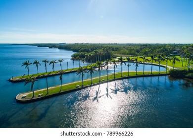 Aerial image of Deering Estate Miami Florida Biscayne Bay