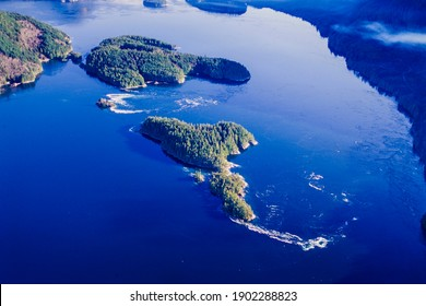 Aerial image of the Dent Rapids, Dent Island, BC, Canada