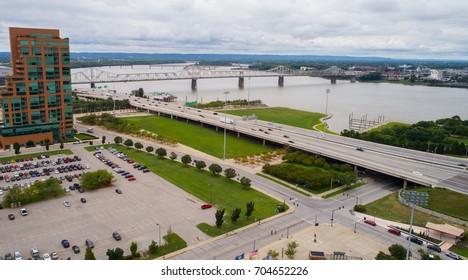Aerial image Downtown Des Moines Iowa USA