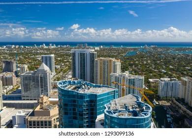 Aerial image Downtown Fort Lauderdale FL view of Atlantic Ocean and beach