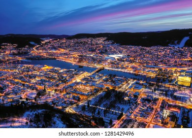 Aerial image of Drammen city, Norway The river is called Drammenselva.